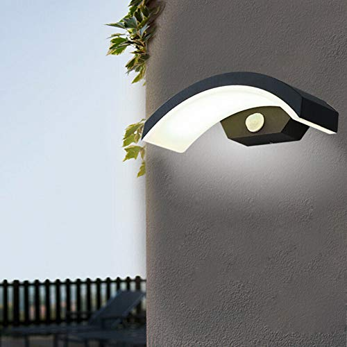 Moderna lámpara de pared LED de 15 W, con sensor de movimiento, resistente al agua IP54, lámpara exterior (luz blanca fría)