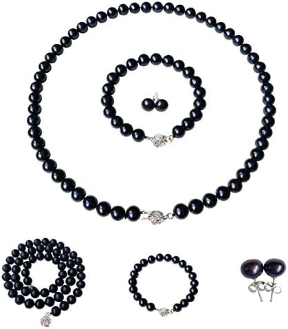 ROUND Black Strand Pearl Necklace Bracelet Stud Earrings 3pc set 16 Inch Choker Length Genuine product image