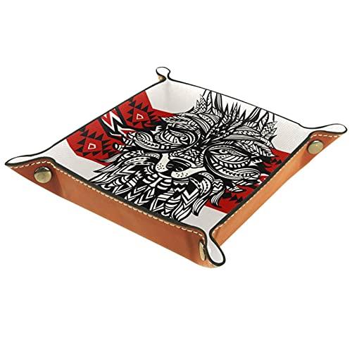Cuero Catchall, cambio de monedero, caja de monedas, bandeja de artículos personales, valet de almacenamiento, broches de metal de latón, Home & Travel Essentials Wolf Totem 2