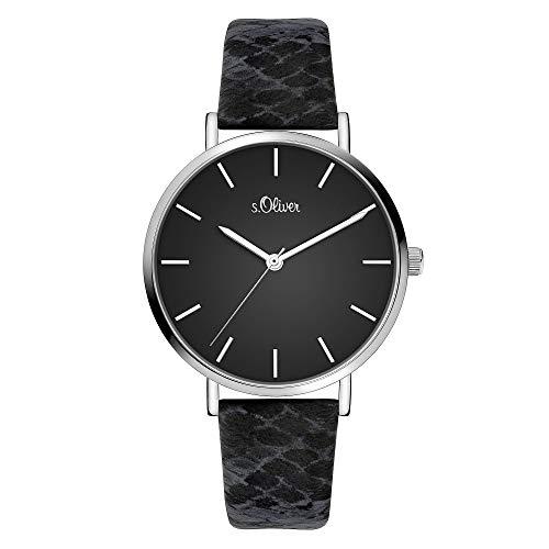 s.Oliver Damen Analog Quarz Uhr mit Leder Armband SO-3848-LQ