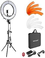 Neewer Zestaw oświetlenia pierścieniowego na aparat fotograficzny, 48 cm, na zewnątrz, 52 W, 5500 K, przyciemniane światło pierścieniowe, światło postojowe, odbiornik Bluetooth, do smartfonów, YouTube