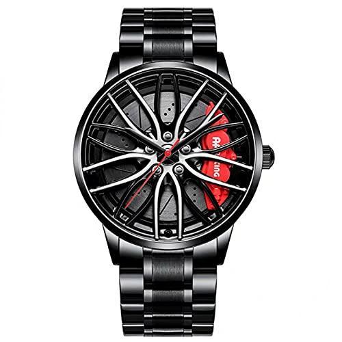 Reloj De Cubo De Llanta De Coche, Reloj Deportivo 3D para Rueda De Coche para Hombre, Reloj Deportivo Impermeable De Moda, Malla De Cuarzo para Hombre con Reloj De Cubo De Llanta (Red)