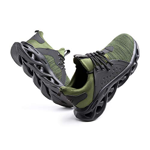 Sicherheitsschuhe Herren Arbeitsschuhe Damen Leicht Sneaker Sportlich Stahlkappe Schutz Stahlkappe Turnschuhe Wandern Stiefel Mesh G-Grün EU43