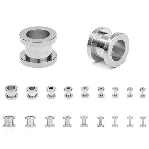 18PCS Ear Tunnels Kit Stainless Steel Screw Fit 14G-00G Gauges Plugs Set Double Flared Stretcher...