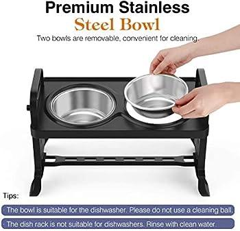 Wuudi Gamelles réglables pour chien et chat - Nourriture surélevée en acier inoxydable avec 2 bols pour chiens de petite taille et moyenne taille.