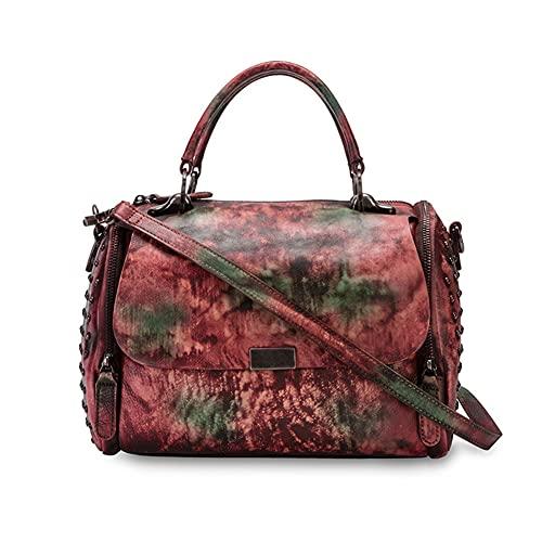 WDCCG Weinlese-Leder-Handtaschen, Handarbeit, kann Stilvolle eingesetzt Werden, für Reisen, Geschäftsleben, Freizeit, Reisen und Pendeln,C