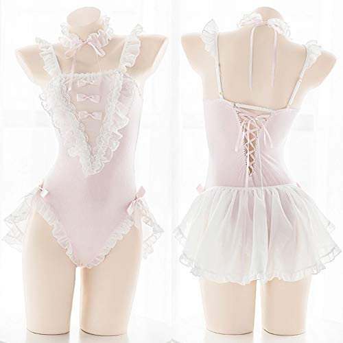 YINSHENG Frauen Wet Look V-Ausschnitt Ärmellose Bodysuit Bodysuit Spitze Bodysuit Clubhaus Female Maid Cosplay Spaß Rüschen Halfter Bodysuit Anime One Piece Cute Pyjama Set