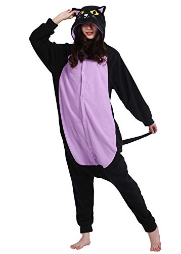 Jumpsuit Onesie Tier Karton Fasching Halloween Kostüm Sleepsuit Cosplay Overall Pyjama Schlafanzug Erwachsene Unisex Lounge Kigurumi,L,Katze 1