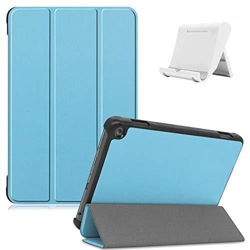 Shinyzone Funda inteligente ultradelgada y ligera con soporte triple de cuero PU con activación / reposo automático + soporte para teléfono tableta Amazon Fire HD 8 Plus 2020 [Bebe azul]