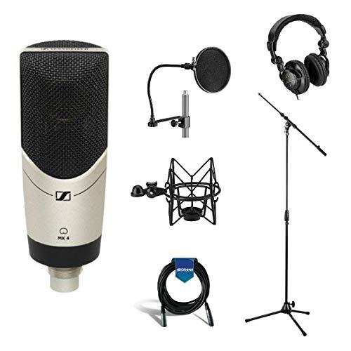 Sennheiser MK 4 Studio Condenser Microphone, Bundle With Cardioid Polar Pattern, Tripod Stand with Boom Arm, Shock Mount, 25