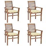 vidaXL 4X Madera de Teca Sillas de Comedor con Cojines Sillón Exterior Balcón Terraza Patio Asiento Butaca Muebles Mobiliario Blanco Crema