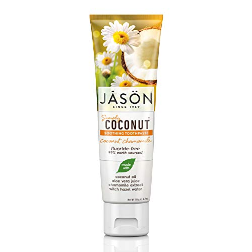 Jason Simply Coconut Soothing Fluoride-Free Toothpaste, Coconut Chamomile, 4.2 Oz