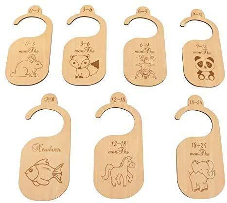 7 Unids/Set Separadores de Madera Para Armario de Bebé, Organizador de ropa para bebés desde recién nacido hasta 24 meses, Decoración De Guardería,Patrón animal lindo,Bebé Ducha Set de regal(Madera)