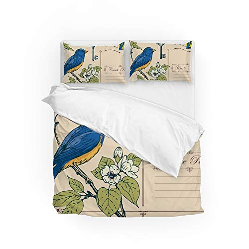 Ruchen Duvet Cover Set Bedding Set Vintage Postcard Postage Stamp Bird Flowering Tree Soft Single