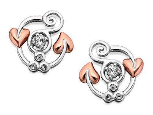 Clogau Womens Jewellery 9Ct Rose Gold & Silver White Topaz Origin Stud Earrings