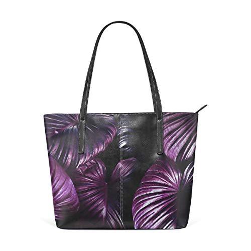 NaiiaN Handtaschen Graduierung Leder Lila Pflanze Dunkel Cool Umhängetaschen Geldbörse Einkaufstasche für Frauen Mädchen Damen Student Leichtgewicht Gurt