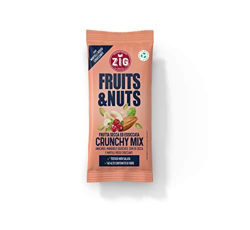 ZIG Fruits & Nuts Crunchy mix 300g | Anacardi, mandorle, semi di zucca, mirtilli | (10 bustine da 30g) Pack 100% compostabile
