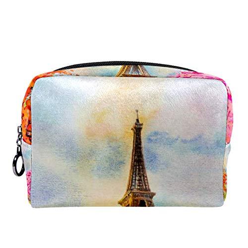 Cosmetic Bag Womens Makeup Bag for Travel to Carry Cosmetics,Change,Keys etc Paris European City Famous Landmark