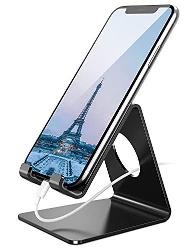 Amazon Brand – Eono Handy Ständer, Handy Halterung : Handyhalterung, Halter für iPhone 12 11 pro Max, Xs, XR, X, 8, 7, 6 Plus, SE, Galaxy Note/S/A, Huawei, Schreibtisch, andere Smartphone - Schwarz