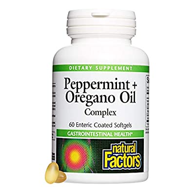 Natural Factors Peppermint Oil with Oregano & Caraway Seed Oils, 60 Enteric Coated Softgels from Natural Factors