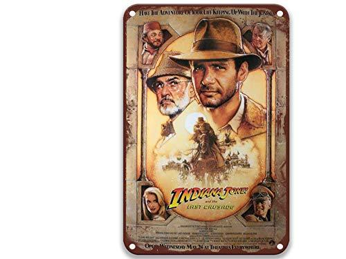 sfasf Indiana Jones and the Last Crusade (1989) Film, Vintage-Filme, Metall-Blechschilder, moderne Wanddekoration für Bar, Kaffee und Bar, Dekoration, Garten, Küche, 20,3 x 30,5 cm
