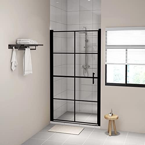 Puerta de ducha, Mampara de ducha Puerta de cabina Puertas de ducha Vidrio templado 100x178 cm Negro
