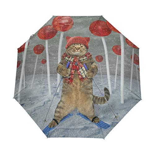 Paraguas de Viaje Plegable con diseño de Gato en el Bosque de Lollipops, Resistente al Viento, a la Lluvia, Apertura automática, protección UV para Mujeres y Hombres