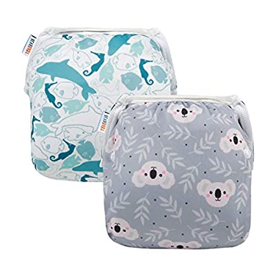 ALVABABY Baby Swim Diapers 2pcs One Size Reuseable Washable & Adjustable for Swimming lesson Baby Shower Gifts YK59-YX35