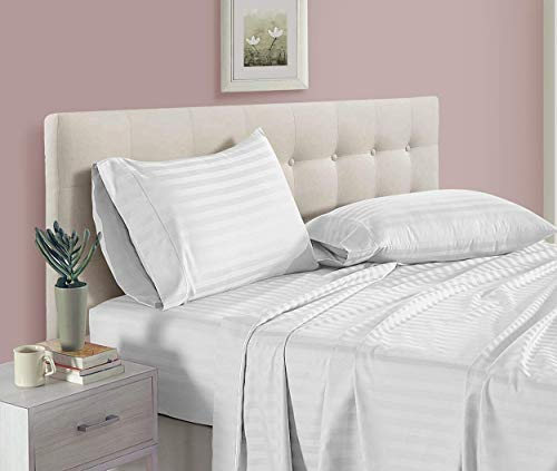 aashirainwear Sheet Sets for RV 28'X75' Size Sheets - 4 Piece Set - Hotel Luxury Bed Sheets - Extra Soft - 16' Deep Pockets - Easy Fit - Breathable & Cooling Sheets - Comfy -White Stripe Bed Sheets