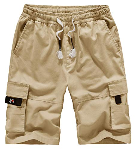 Msmsse Women's Casual Cargo Shorts Elastic Waist Drawstring Cotton Loose Fit Outdoor Multi Pockets Khaki US 16-18/Asian 6XL