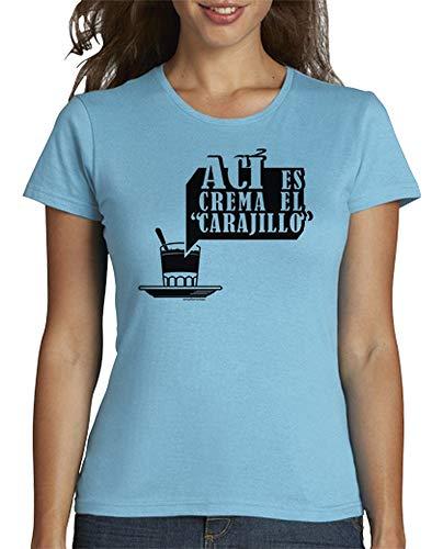 latostadora - Camiseta AC para Mujer Azul Cielo M
