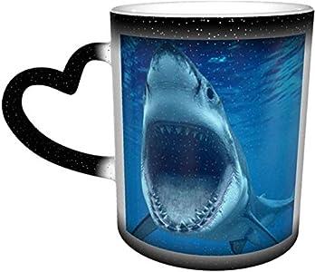 Taza que cambia de color sensible al calor Megalodon en el cielo tazas de café taza de cerámica regalos personalizados para amantes de la familia amigos