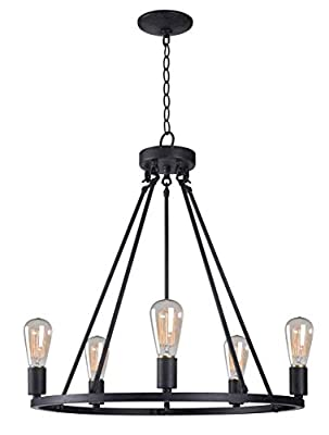 Kenroy Home Hixon 5 Light Chandelier, 24.5-31.5 Inch Height, 23.5 Inch Width, Graphite