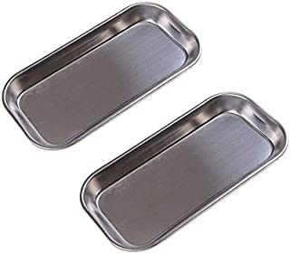 2 Pcs Thickening Instrument Tray Medical Stainless Steel Dental Medical Tray Lab Instrument Tool Professional Surgical Trays 8.86 x 4.53 x 0.79