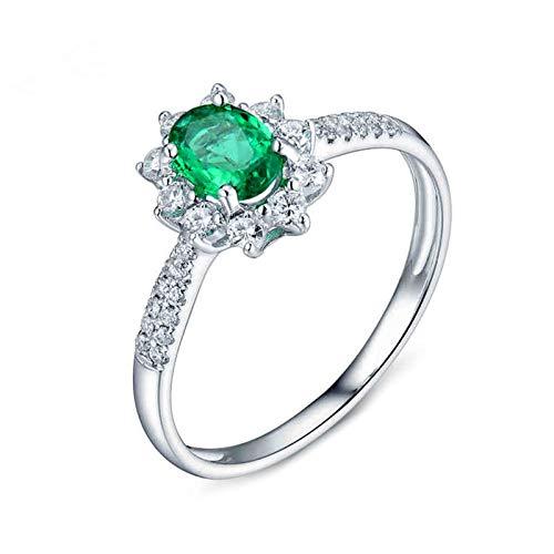 Beydodo Anillo de Mujer Compromiso,Anillo de Mujer Oro Blanco 18K Plata Verde Oval con Flor Esmeralda Verde 0.5ct Diamante 0.26ct Talla 16(Circuferencia 56MM)