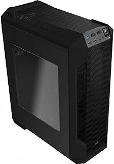 Aerocool LS5200B- Caja gaming para PC (ATX, Semitorre, incluye ventilador trasero 12 cm, 7 ranuras de expansión, hasta 6 ventiladores, ventana transparente, USB 2.0/3.0, Audio HD), color negro