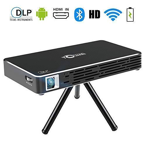 TOUMEI C800S Mini Beamer Android 7.1 Video DLP thuisbioscoop pocket projector voor iPhone Android Phone - ondersteuning HDMI ingang / WiFi / Bluetooth / USB / TF kaart / TV Box / PS4 (zwart)