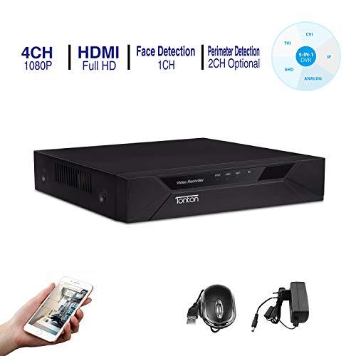Tonton CCTV 4CH 1080P HD 5 in 1 DVR Receiver Netzwerk Digital Video Recorder Aufzeichnungsgerät ohne Festplatte, HDMI VGA Ausgang, unterstützt 720P 1080P 960H: AHD/TVI/CVI/IP Kamera/Analog Kamera