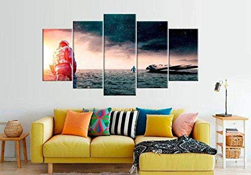 Prints On Canvas 5 Pieces Canvas Wall Art Modern Wall Decoration Home Living Room Decoration Creative Gift Wooden Frame Large Interstellar Spaceship (ZFJ104)