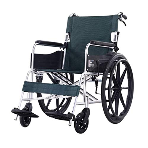 SUNBJ Falten Licht Rollstuhl, bewegliche Aluminiumlegierung Multifunktions-Roller 22 Inches Faltbarer Pedale Geeignet for ältere und behinderte Menschen