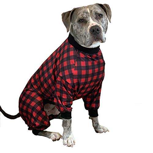 Tooth and Honey Pit Bull Pajamas/Buffalo Plaid/Lightweight Pullover Pajamas/Full Coverage Dog pjs/Updated FIT