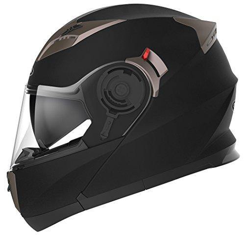 Casco Moto Modular ECE Homologado - YEMA YM-925 Casco de Moto Integral Scooter para Mujer Hombre Adultos con Doble Visera-Negro Mate-L