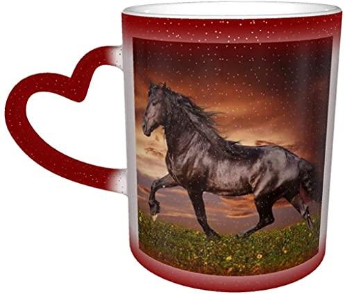 Taza de café con texto en inglés 'Horse Running On The Grassland', color sensible al calor, taza de café, regalo de cumpleaños de Navidad