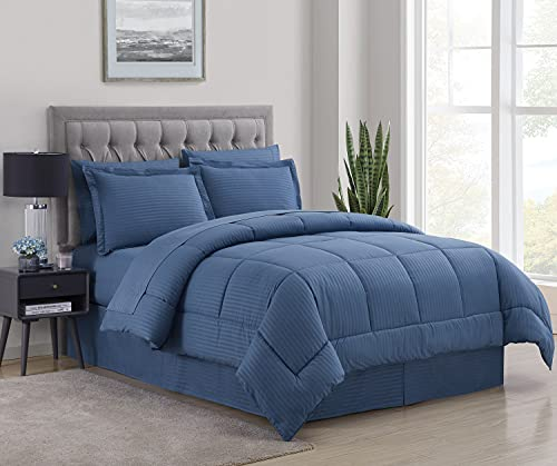Sweet Home Collection 8 Piece Comforter Set Bag with Unique Design, Bed Sheets, 2 Pillowcases & 2 Shams & Bed Skirt All Season Warmth, Queen, Denim