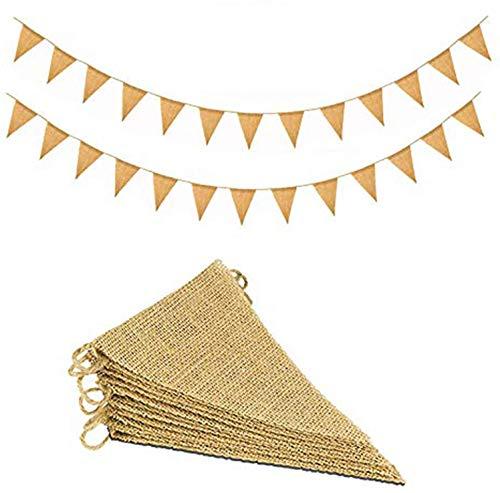 Juteflagge Wimpelkette 6M 24 Stück Sackleinen Wimpel Girlande Dreiecksflaggen Shabby Chic Dekoration für Rustikalen Look