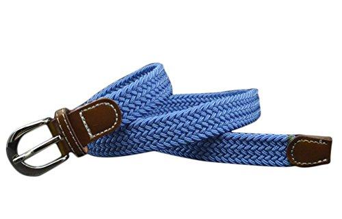 Namgiy - Cinturón elástico de tela para niños con hebilla trenzada para pantalones cortos y pantalones, 95 cm azul