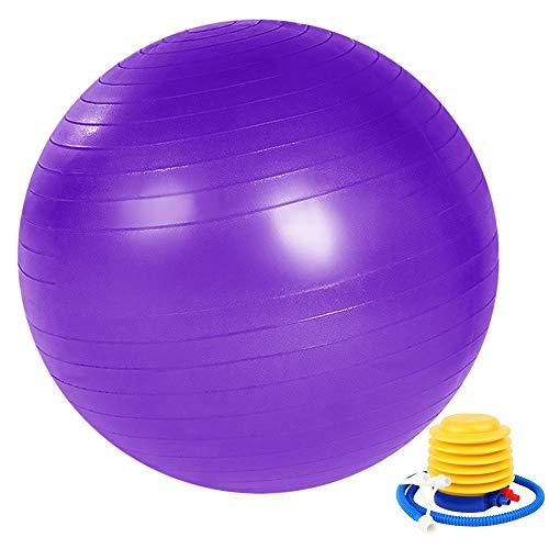 Fitness Pelota de Ejercicio, ZoneYan Pelota de Yoga Embarazo, Pelota de Pilates 55 Cm/65 Cm/75 Cm con Inflador, Anti Explosión, Antideslizante, Púrpura, Silla de Bola de Oficina, Fitness en Casa