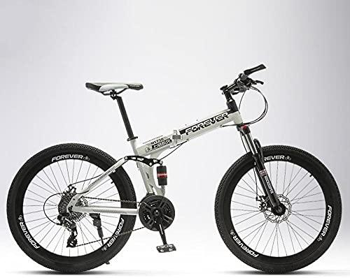 Bicicleta de montaña plegable, para hombre y mujer, para alumnos intermedios, off-road, amortiguador doble, rueda de radios, color verde militar, 24 velocidades, 24 pulgadas, rueda de nieve eléctrica