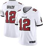 PUCQ Outdoor Chemise de Rugby pour Homme Chemise de Football américain - 12# Tom Brady Tampa Bay Buccaneers Maillot Femme Chemise à séchage Rapide Fans Sweat-Shirt Rouge Limited Jersey -Blanc_Petit