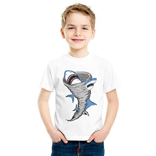 Generic Branded Camiseta de algodón para niños, diseño de tiburón tornado suelto, cuello redondo